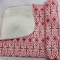 Hand Block red Print Baby Kantha Quilt Wrap Blanket