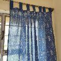 iNDIGO Print Pure Cotton Hand Block Print Sun Light Door Curtain