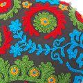 Multi Color Hand Block Cotton Suzani Embroidered Cotton Cushion Cover