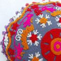 Suzani Round Cushion Pom Pom Embroidered Pillow Cover Decorative Throw