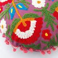 Suzani Round Pillows Embroidered Pom Pom Lace Cushion Cover