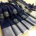 Handloom Pure Linen Embroidery sarees