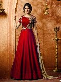 Awesome Red Embroidered Salwar Suit at YOYO Fashion