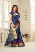 Designer Blue Jacquard Silk Saree at YOYO Fashion