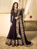 Designer Brown Faux Georgette Heavy Embroidred Anarkali Suit at YOYO Fashion