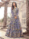 Designer Embroidered Net Grey Anarkali Salwar Suit