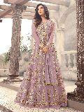 Designer Embroidered Net Purple Anarkali Salwar Suit