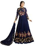 Designer Faux Georgette Blue Heavy Embroidred And Hand Work Anarkali Suit