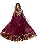 Designer Faux Georgette Wine Heavy Embroidred And Hand Work Anarkali Suit