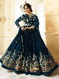 Designer Georgette Blue Heavy Embroidred And Hand Work Anarkali Suit
