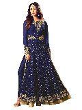 Designer Latest Blue Long Straight Net Salwar Suit