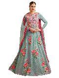 Designer Malbari Silk Turquoise Latest Anarkali Salwar Suit