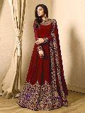 Designer Red Faux Georgette Embroidred Anarkali Suit