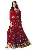 Designer Red Latest Long Straight Net Anarkali Salwar Suit