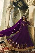 Latest Fancy Party Wear Purple Faux Georgette Embroidered Anarkali Salwar Suit