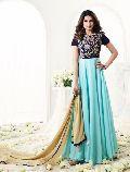 Latest Velvet & Faux Georgette Blue & Firozi Latest Anarkali Salwar Suit