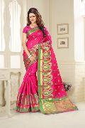 Pink Jacquard Silk Saree at YOYO Fashion