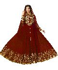 Red Heavy Embroidred And Hand Work Anarkali Suit