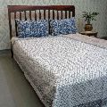 Fish Scale Grey Embroidered Cotton Twin Size Kantha