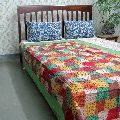 Throw Multicolor patchwork quilted Kantha