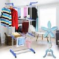 DOUBLE POLE CLOTH DRYING STAND WITH MINI PEDESTAL FAN