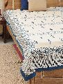Bed Cover Block Printed Blue Leaf Design With 2 Pillow Cover