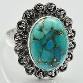Natural Copper Turquoise 925 Sterling Silver Gemstone Ring