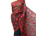 Black Red Floral Embroidered Georgette Sari