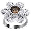 Quality Jewelry White Gold Plated 1.25 Carat Genuine Round Smoky Quartz Ring