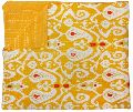 Yellow ikat printed handmade cotton kantha quilt blanket