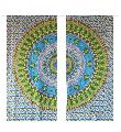 ROUND CHARKHA WALL HANGING TAPESTRY COTTON DOOR CURTAIN