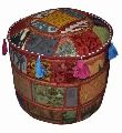 TRADITIONAL HANDMADE DECORATIVE ROUND POUF OTTOMAN COVER