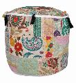 VINTAGE EMBROIDERED DESIGN COTTON PATCHWORK POUF OTTOMAN COVER