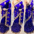 mirror work nevy blue party wear traditional saree