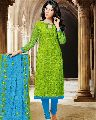 Resham Work Cotton Churidar Suit
