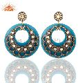 18K Gold Plated Crystal Polki Blue Bakelite Earring