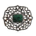 Rose Cut Diamond Silver 925 Emerald Women Hair Brooch