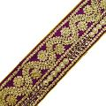 Purple Royal Tape Floral Design Fabric Trim