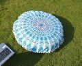 Indian Sky Blue Round Mandala Tapestry Floor Pillows