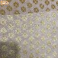 Floral Gold Printed Jute Curtain Fabric