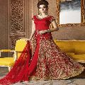 Attractive Red Color Raw Silk Embroidered Anarkali Suit