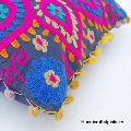 Cotton Suzani Boho Throw Floral Embroidery Pillow Cushion