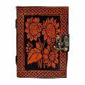 Leather Journal Embossed Celtic Flower Leaves Design Bound Pocket Diary gift book