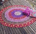 Hippie Beach Throw Towel cotton Yoga Mat round Peacock Mandala Tapestries