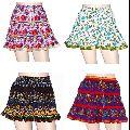 Cotton Block Print Crinkle Mini Skirt