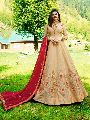 Beige and Red Designer Anarkali Salwar Suit