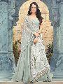 Resham Embroidered Ash Grey Anarkali Suit