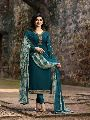 Turquoise Embroidered Straight Suit