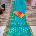 Blue Embroidered Sarees