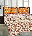 Cotton Pink & Orange Double Bed Sheet